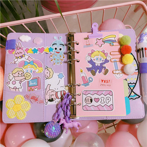 Image 3 - 2019 Pink Cute Notebook Notepad Kawaii Planner Gift Set PU Leather Creative School Supplies Journal Notebook Stationery
