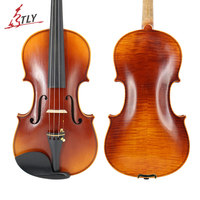 TONGLING Master Handmade Oily Paint Antique Violin Natural Flamed Maple Violins w/ Full Set Parts for Professional Violin Player