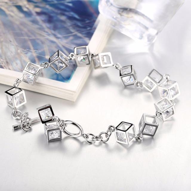 Sterling Silver Zircon Square Charm Bracelets