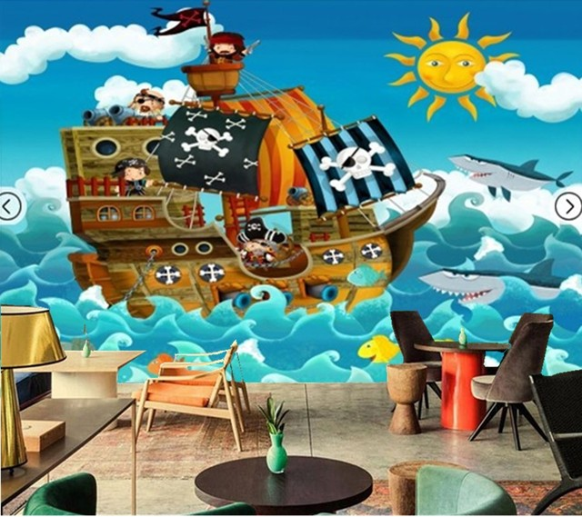 personnalis photo papier peint bateau pirate de mur fresque murale pour chambre enfants. Black Bedroom Furniture Sets. Home Design Ideas