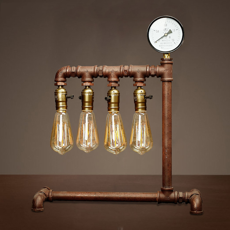 2016 New creative Vintage table lamp 3 heads. industrial water pipe lamp desk light LOFT beside light bed room study lighting