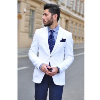 NoEnName_Null 2017 New White Mens Suits Blazer With Navy Blue Pants Bespoke Notched Lapel terno Grooms Tuxedos 2 Pieces men suit