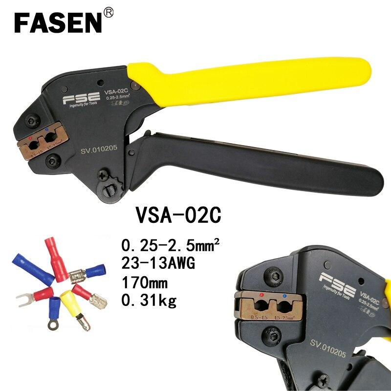 Fasen Vsa-02c Crimpen Zange 0,25-2.5mm2 23-13awg Für Isolierung Terminal Clamp Selbst-anpassung Arbeitssparende Typ Mini Werkzeuge ZuverläSsige Leistung Zangen