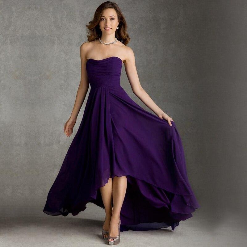 High Low 2016 Simple Elegant vestido de dama de honra Sweetheart Backless Chiffon A Line font