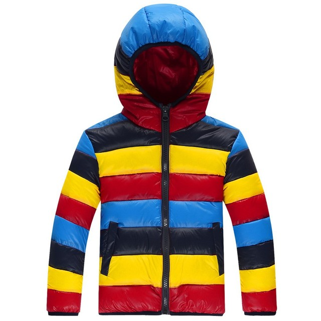 2016 de Inverno Novos Meninos Menina Down & Parkas Jacket Multicolor Menino Acolchoado Casaco Quente Engrosse Com Capuz Casuais Outerwear Casaco Para Baixo