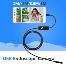 HD 5.5mm Focus Camera Lens 1M/1.5M/2M/3.5M/5M Waterproof 6 LED Android Endoscope Mini USB Cable Endoscope Inspection Camera