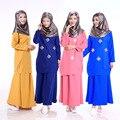 2 Unids Musulmán Impresión de Las Mujeres Ropa de la Señora Maxi Vestido de Manga Larga Longitud de La Cubierta Completa Jibab Abaya Kaftan Top + Falda