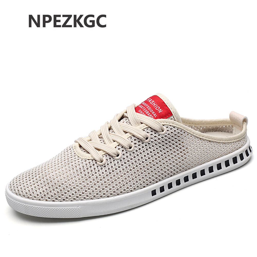 NPEZKGC New Breathable hemp Mesh Shoes men summer canvas casual shoes flat half slipper man comfort beach moccasins men flats breathable women hemp summer flat shoes eu 35 40 new arrival fashion outdoor style light