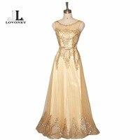 LOVONEY Vestido De Festa Elegant V Opening Back Golden Evening Dress Long Lace Up Prom Party