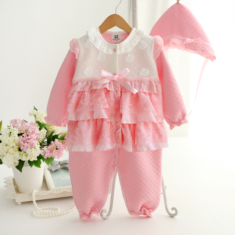 Autumn and winter thicken lace baby gril rompers bebe clothes coveralls formal princess dress 100% cotton newborn baby clothing cotton baby rompers set newborn clothes baby clothing boys girls cartoon jumpsuits long sleeve overalls coveralls autumn winter