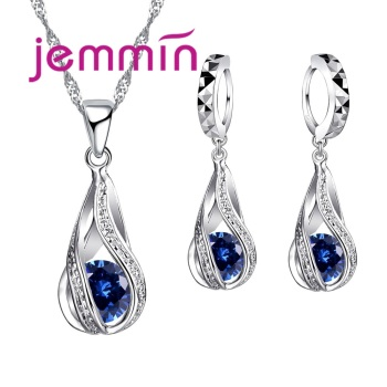 Free Shipping Top Quality 925 Sterling Silver Wedding Party Jewelry Sets Multiple Color Crystals Pendant Necklace Earrings 3
