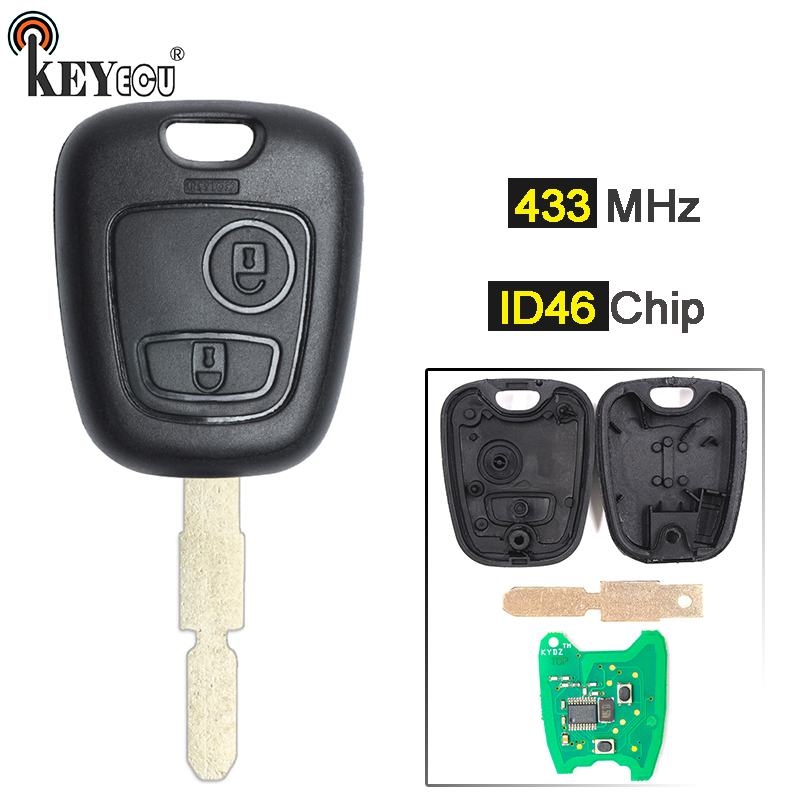 KEYECU 433MHz ID46 Chip Replacement <font><b>Remote</b></font> Car <font><b>Key</b></font> Fob 2 Button for <font><b>Peugeot</b></font> <font><b>406</b></font> image