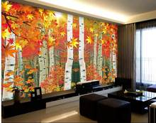 3d name wallpapers wall 3d wallpaper Autumn leaves of birch forest 3d landscape wallpaper photo 3d wallpaper(China)