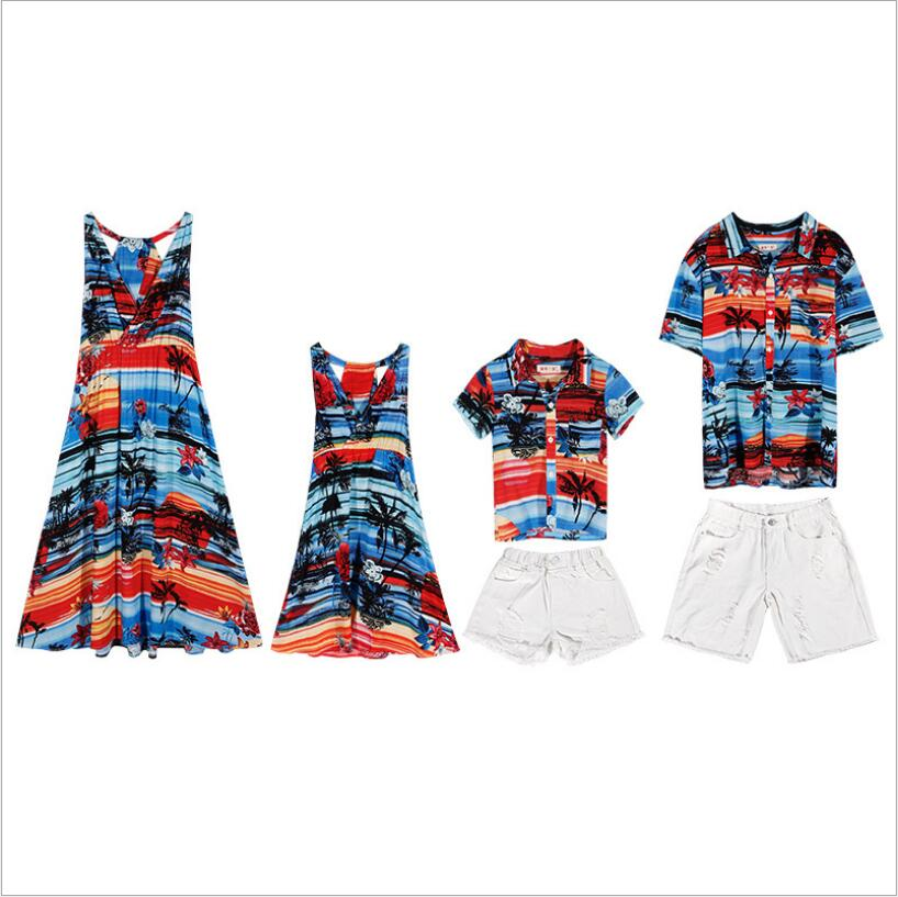 tonlinker Family Matching Outfits summer beach bohemian T-shirt Outfits Mother Daughter chiffon Dresses Father Son Baby Boy Girl