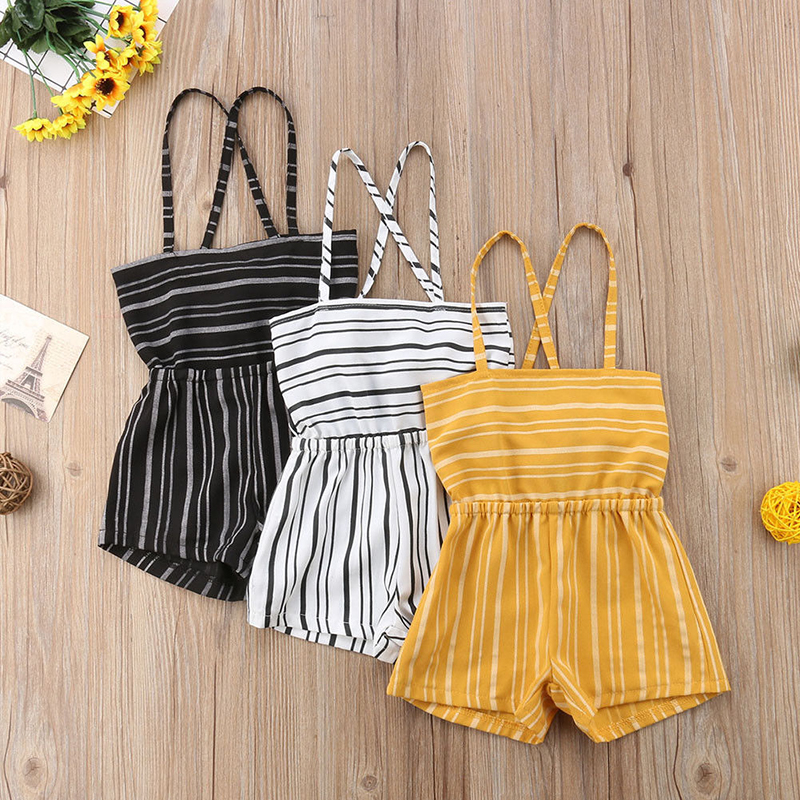 Pudcoco Summer Toddler Kids Baby Girls Off Shoulder Striped   Rompers   Jumpsuits Playsuit