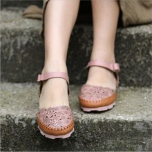 2016 new summer handmade genuine leather women sandals flat cut out flower pink khaki women shoes