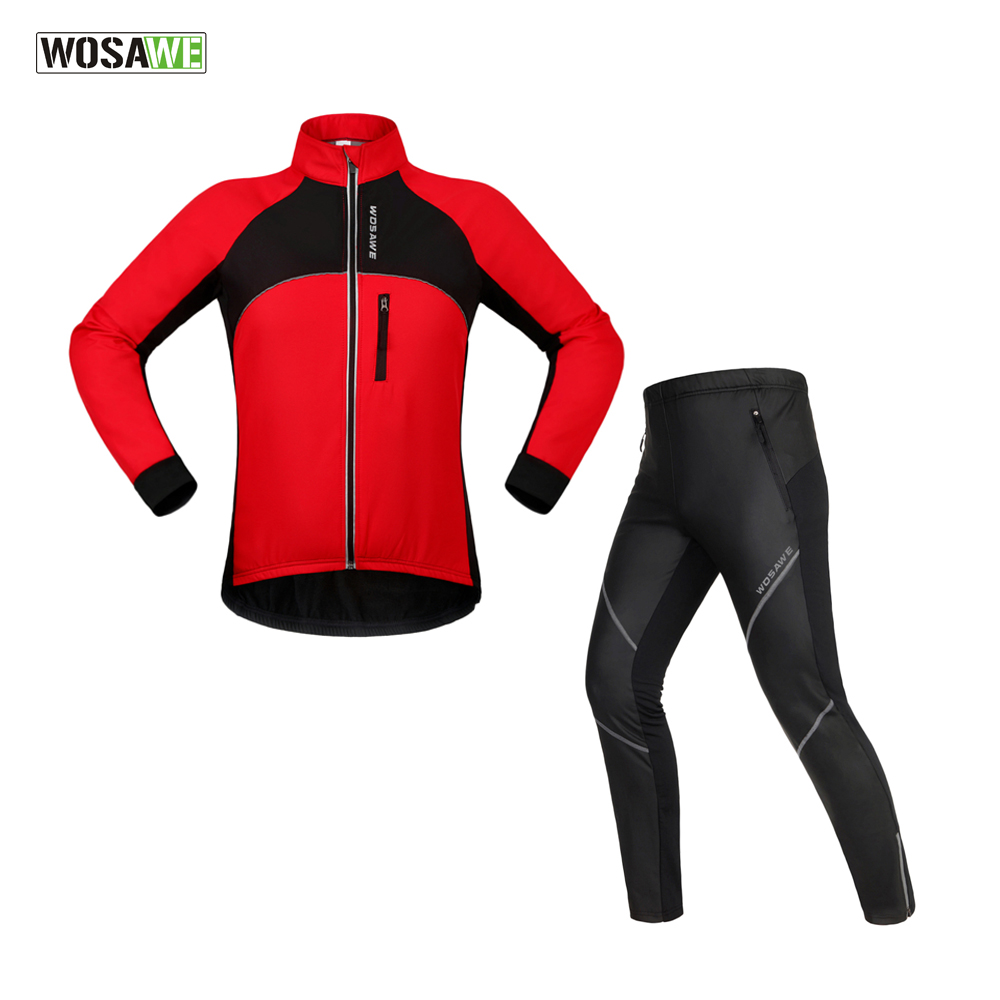 WOSAWE Cycling Jersey MTB Mountain Bike Sport Suit Sportswear Cycling Equipment Clothing Waterproof & Windproof Bike Suits wosawe men s long sleeve cycling jersey sets breathable gel padded mtb tights sportswear for all season cycling clothings