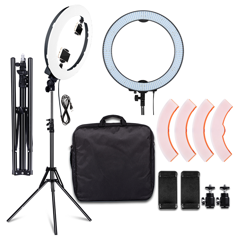 Ring Light 5500K 600PCS LED Photographic Lighting Dimmable Camera Photo/Studio/Phone Photography Ring Lamp & Tripod Stand RL-20