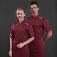 Wholesale Hotel Chef Work Clothes Men Women Short sleeved Kitchen Restaurant Hotel Catering Baker Uniform Summer Breathable Tops