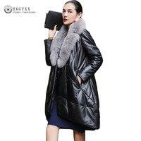 Для женщин натуральной кожи куртка натуральной овчины пальто 2018 зима Теплый пуховик натуральным лисьим верхняя одежда с меховым воротнико