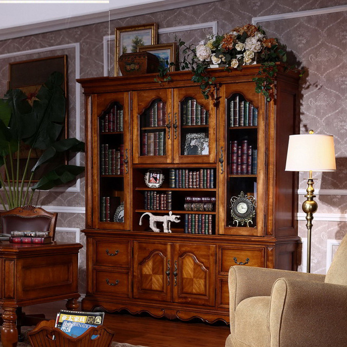 solid wood furniture american country wood bookcase with doors large glass door bookcase bookcase combination lockers shippingin beds from furniture on