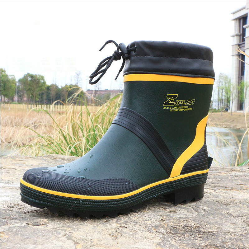 Fashion Mens Rubber Rain Boots Waterproof Fishing Boots High Quality Waterproof Non - Slip Footwear Boots for Men
