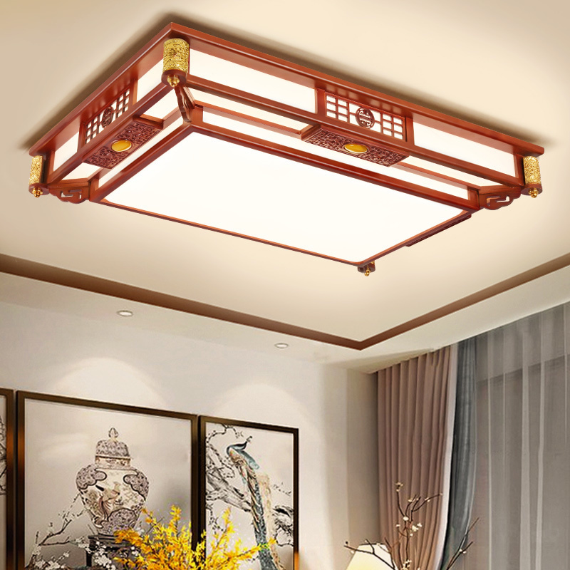 Chinese Ceiling Lamps Living Room Teahouse Solid Wood Round Ceiling Light Bedroom Restaurant Retro Rectangle led Ceiling Lights