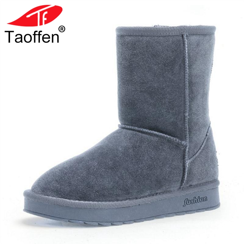TAOFFEN New Snow Boots Women Winter Shoes Real Leather Flats Boots Thick Fur Mid Calf Boots Daily Woman Shoes Size 35-40 taoffen genuine leather motorcycle boots biker shoes women suede pointed snow boots brand shoe famous designer woman flats punk