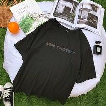 Женская футболка с буквенным принтом Harajuku, Летние повседневные топы с коротким рукавом в Корейском стиле Kpop Love Yourself, одежда
