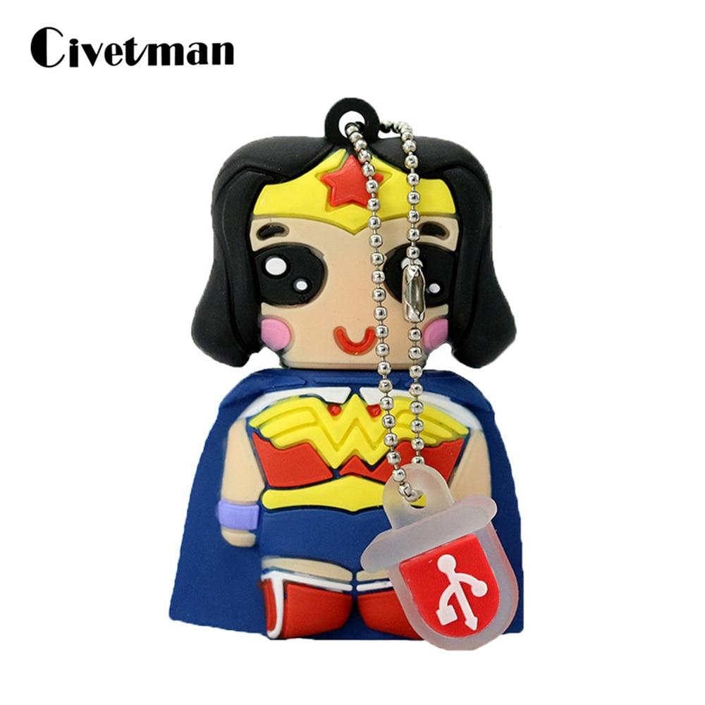 Hot Super Heros USB Flash Drive Avengers Wonder Woman Superwoman Pen Drive 256G Cartoon Memory Stick 8GB 16GB 32GB 64GB Pendrive