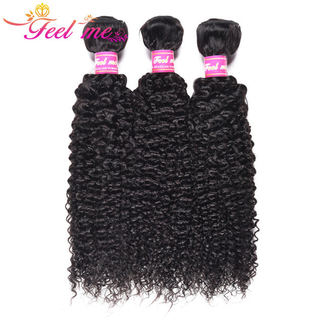 Kinky Curly Hair Bundles FEEL ME Brazilian Curly Human Hair Bundles Natural Color Remy Hair Weave Extensions Can Buy 1/3/4 PCS