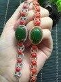 6*8 MM 925 sterling silver certificada naturais pulseira coral vermelho para mulheres fine jewelry Natural-pulseiras de coral