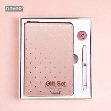 Набор канцелярских принадлежностей серии Never Pink, металлическая гелевая ручка для ноутбука, пустая бумага на молнии, планировщик, набор, бизнес, офис, для девушек, Подарочные принадлежности