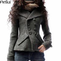 Artka Women's Winter Jackets Autumn Wool Coat Female Double Breasted Women's Short Jacket 2018 Plus Size Ladies Overcoat A09792