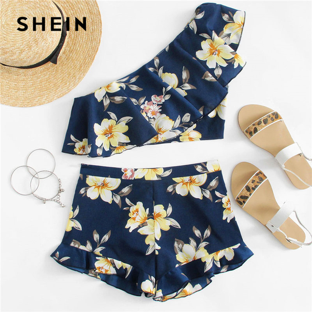 387d60da801 SHEIN Flower Print One Shoulder Crop Top And Shorts Set Women Sleeveless  Ruffle Zipper 2 Pieces Sets 2018 Beach Boho Twopieces