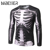 NIBESSER 2017 Spring Autumn New Men T Shirts Casual Long Sleeve X Ray Skeleton Printed O