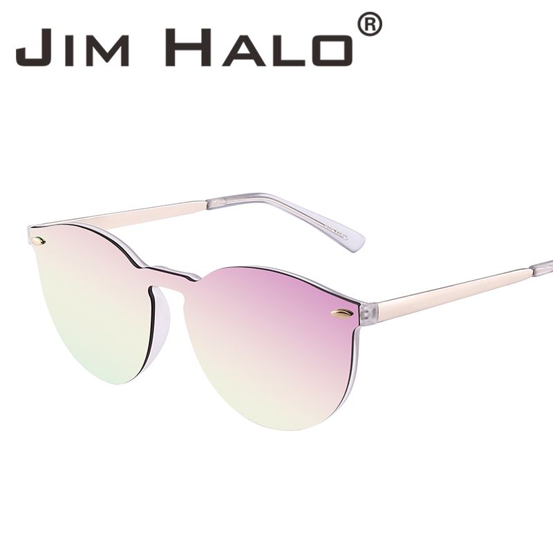 6dfac88f24e Jim Halo Mirrored Rimless Sunglasses Reflective Flash Lens One Piece Retro  Vintage Round Sun Glasses for