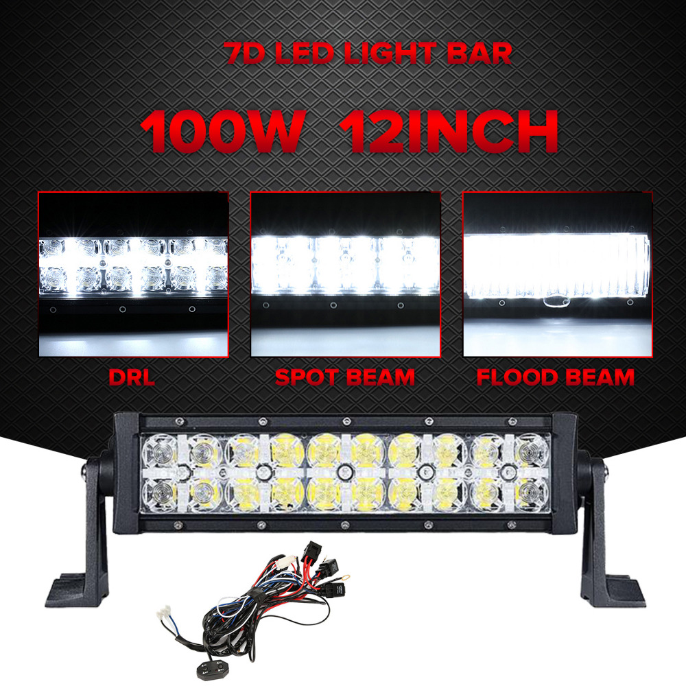 Partol 7D 100W 12 LED Light Bar Offroad Combo Beam Led Work Light Driving Lamp Truck SUV Boat ATV 4x4 4WD 12V 24V 1pc 4d led light bar car styling 27w offroad spot flood combo beam 24v driving work lamp for truck suv atv 4x4 4wd round square
