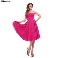 Barato Simples Vestido De Noite Curto Rose Red Chiffon Sexy Vestidos de Noite Strapless Tea Comprimento Elegante vestido de Festa Vestido Formal