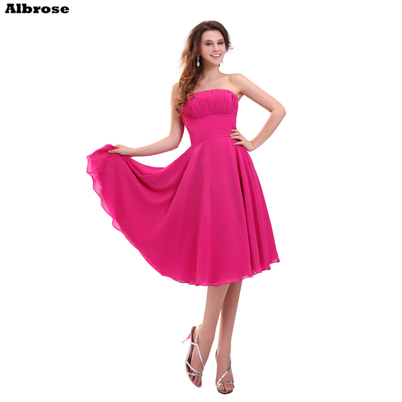Barato simple vestido de noche corto Rose Red gasa sin tirantes ...