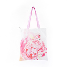 High quality flamingo canvas bag shoulder white creative printing lady green tote shopping