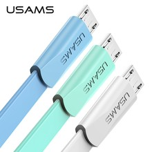 USAMS Micro USB cable for Samsung S7 S6 Xiaomi redmi 5a cable 2A Fast Charge Data Cable for Android MicroUSB Mobile Phone cables(China)