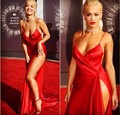 Sexy Spaghetti Straps V-Neck High Slit Celebrity Dresses Red Satin Evening Dress Party Gown Rita Ora Red Carpet Dresses