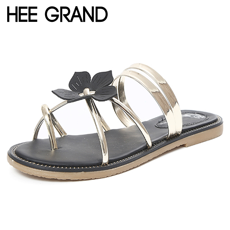 HEE GRAND Summer Beach Flip Flops Flowers Gladiator Sandals Gold Casual Flats Shoes Woman Slip On Women Shoes 4 Colors XWZ3841 phyanic crystal shoes woman 2017 bling gladiator sandals casual creepers slip on flats beach platform women shoes phy4041