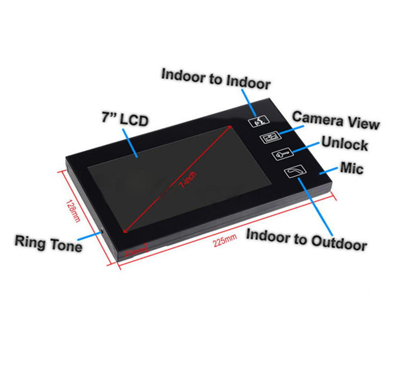 7 Inch TFT Monitor Touch Screen Intercom Video Door Phone With Key Tag and Door Lock