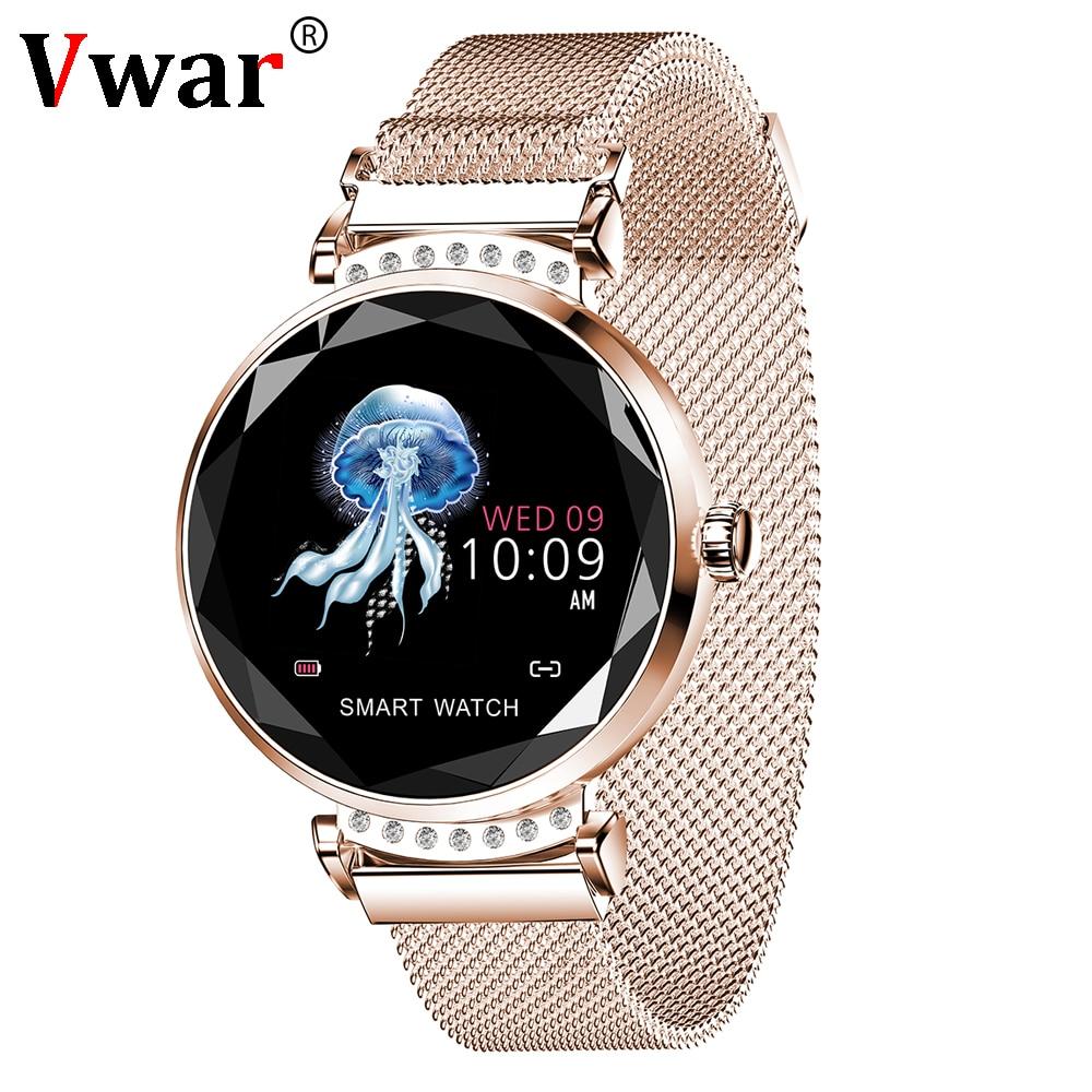 2019 Newest Fashion H2 Women Smart Watch 3D Diamond Glass Heart Rate Blood Pressure Sleep Monitor
