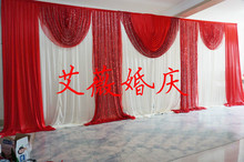 Fashion Hot red and white Wedding Backdrops with Swag Drapery Curtain of Wedding Background decoration with sequin