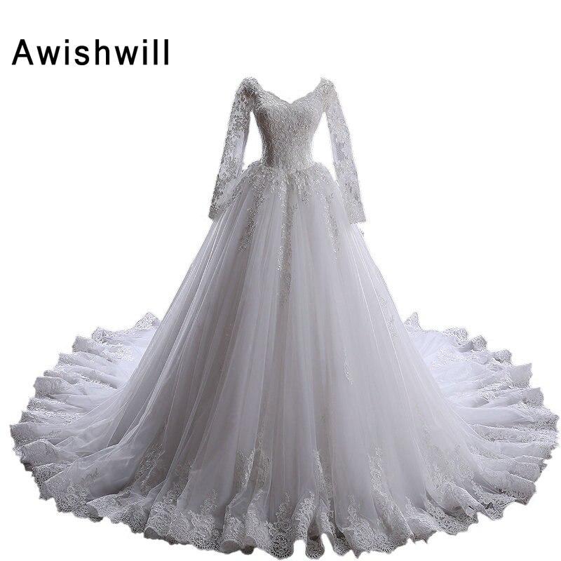 Vestido de Noiva Manga Longa koronkowa aplikacja z długim rękawem V dekolt Tiul Przepuszczalność z tyłu Suknie ślubne prawdziwe zdjęcie suknia ślubna