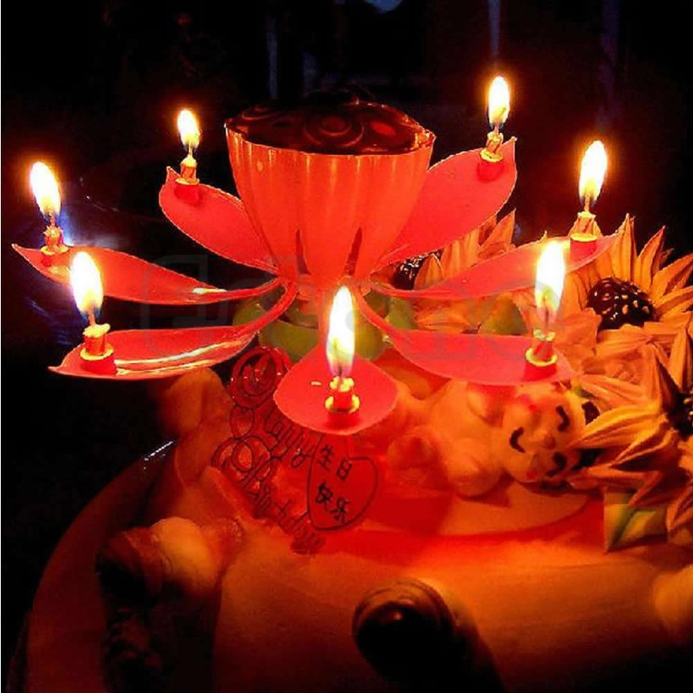 Hot Selling New Romantic Musical Lotus Flower Happy Birthday Party