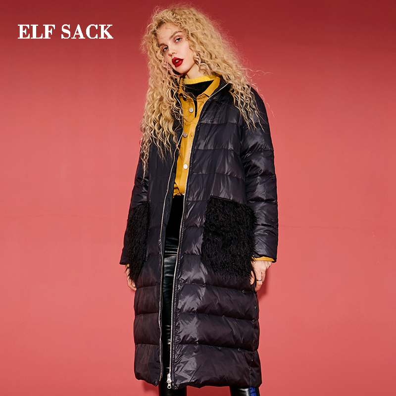 ELF SACK New Woman Down Jacket 90 White Duck Down Patchwork Women Down Coat Cotton Thick
